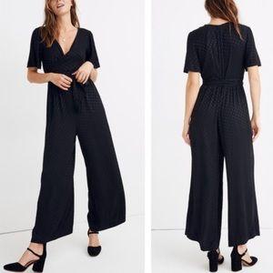 Madewell Wrap Waist Jumpsuit in Dot Black Sz 4